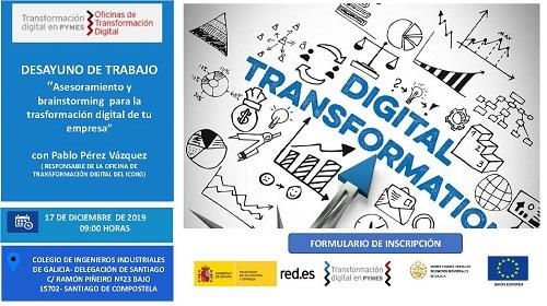 Desayuno de trabajo «Asesoramiento y brainstorming para la transformación digital de tu empresa». Santiago 17/12/2019