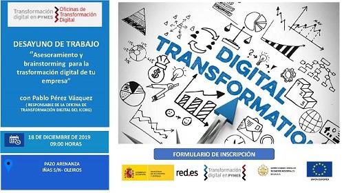 Desayuno de trabajo «Asesoramiento y brainstorming para la transformación digital de tu empresa». Oleiros 18/12/2019