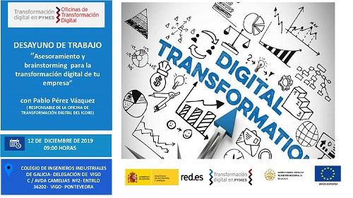 Desayuno de trabajo «Asesoramiento y brainstorming para la transformación digital de tu empresa». Vigo 12/12/2019