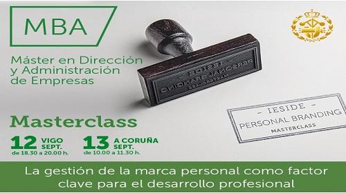 Masterclass la gestión de la marca personal como factor clave para el desarrollo profesional. Vigo 12/09/19, A Coruña 13/09/19