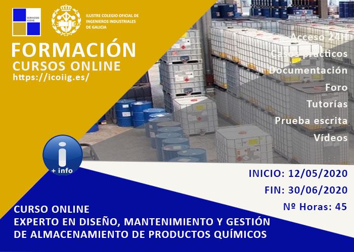Curso online experto en diseño, mantenimiento y gestión de almacenamiento de productos quimicos. 12/05/2020