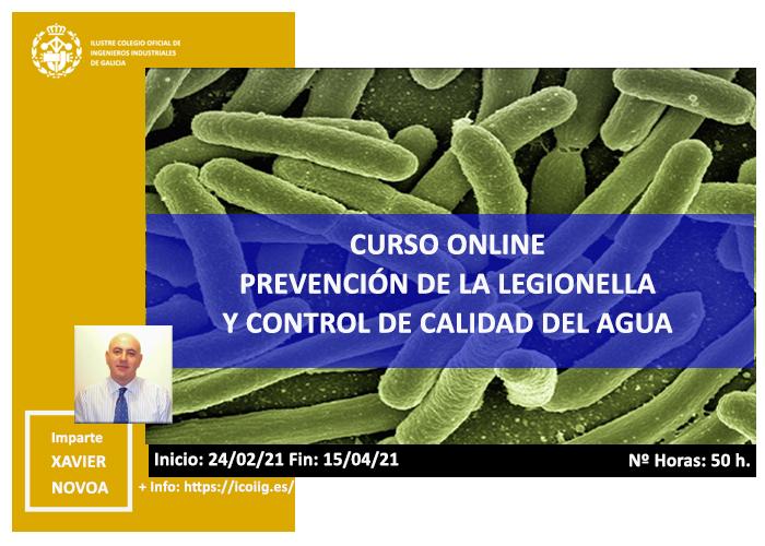Curso online prevención de la legionella y control de calidad de agua. 24/02/2021
