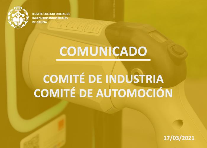 Comunicado de los Comités de Industria y de Automoción del ICOIIG apoyando la instalación de una fábrica de baterías para vehículos eléctricos en el Sur de Galicia