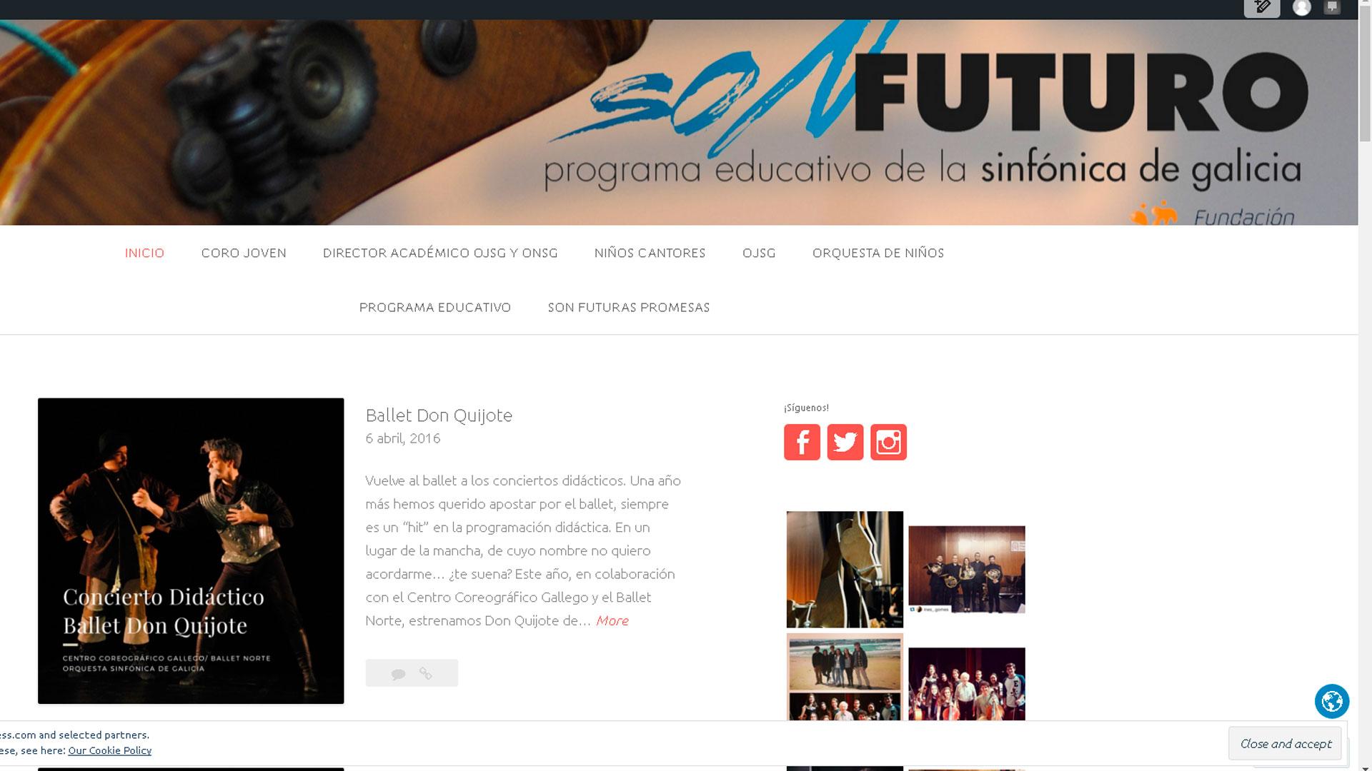 El blog de Son Futuro muestra en la red el nuevo modo de aprender, sentir y vivir la música en el programa educativo de la Orquesta Sinfónica de Galicia
