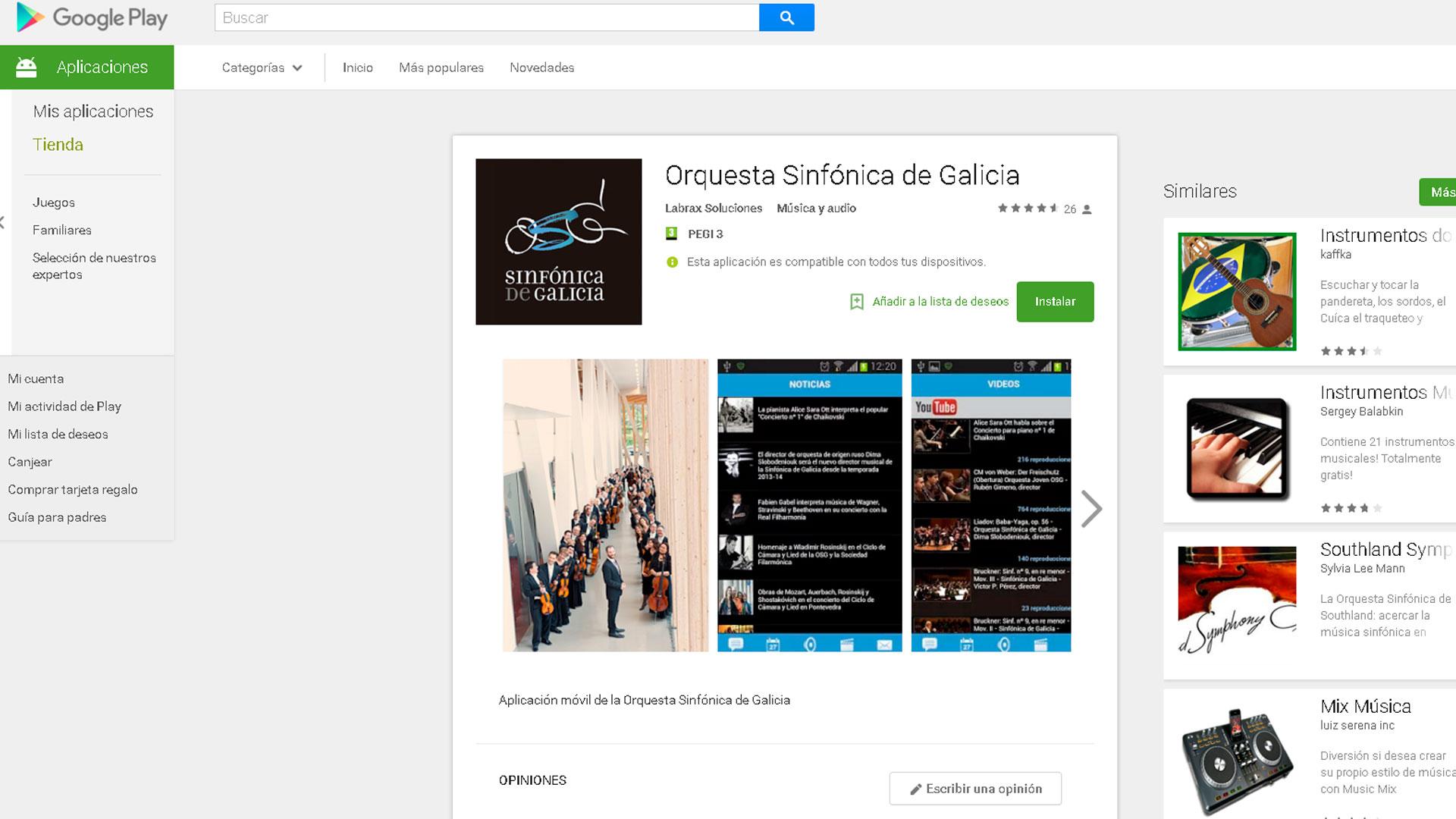 La App de la Sinfónica de Galicia para iOS y Android ofrece vídeos, música en streaming y toda la información de sus conciertos